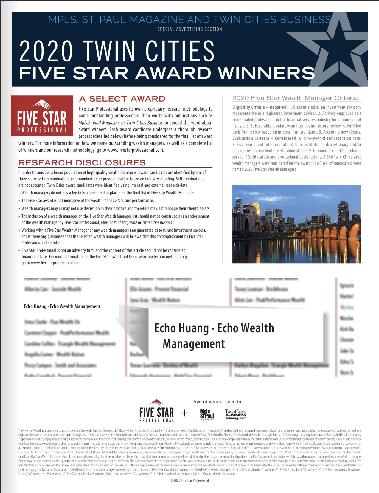 Echo Huang, CFA, CFP®, CPA Awarded the Five Star Wealth Manager Award for 2020!